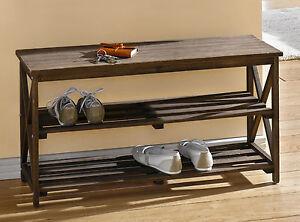 sitzbank mit ablagefach holz schuhregal handtuchablage. Black Bedroom Furniture Sets. Home Design Ideas