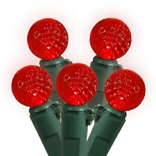 70 Bulb Red G12 LED Green Wire Steady Christmas Holiday Lights - Red - 25' total