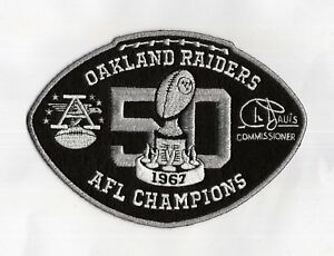 90a658d46 OAKLAND RAIDERS JERSEY PATCH '67 AFL CHAMPIONS 50th ANNIVERSARY BIG ...