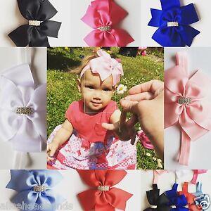 Big-Bow-Diamante-Baby-Girls-Headband-Soft-Elastic-Band-New-Born-Hair-6Inch-Lot