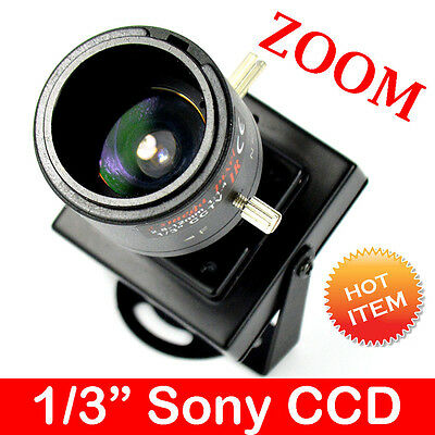 "Mini HD 700TVL CCTV Home Security Camera 1/3"" CCD 2.8-12mm Zoom Lens FPV CN"