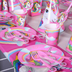 Image Is Loading Cute Baby Kids Unicorn Birthday Decor Party Supplies