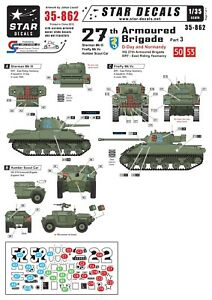 Star-Decals-1-35-Br-27th-Arm-Bde-D-Day-Normandy-SherIII-FireflyVc-HumbSC-35862