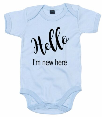 HELLO I/'M NEW HERE ~ NEWBORN ALL IN ONE ~ BABY GROW VEST 0-18 MTHS