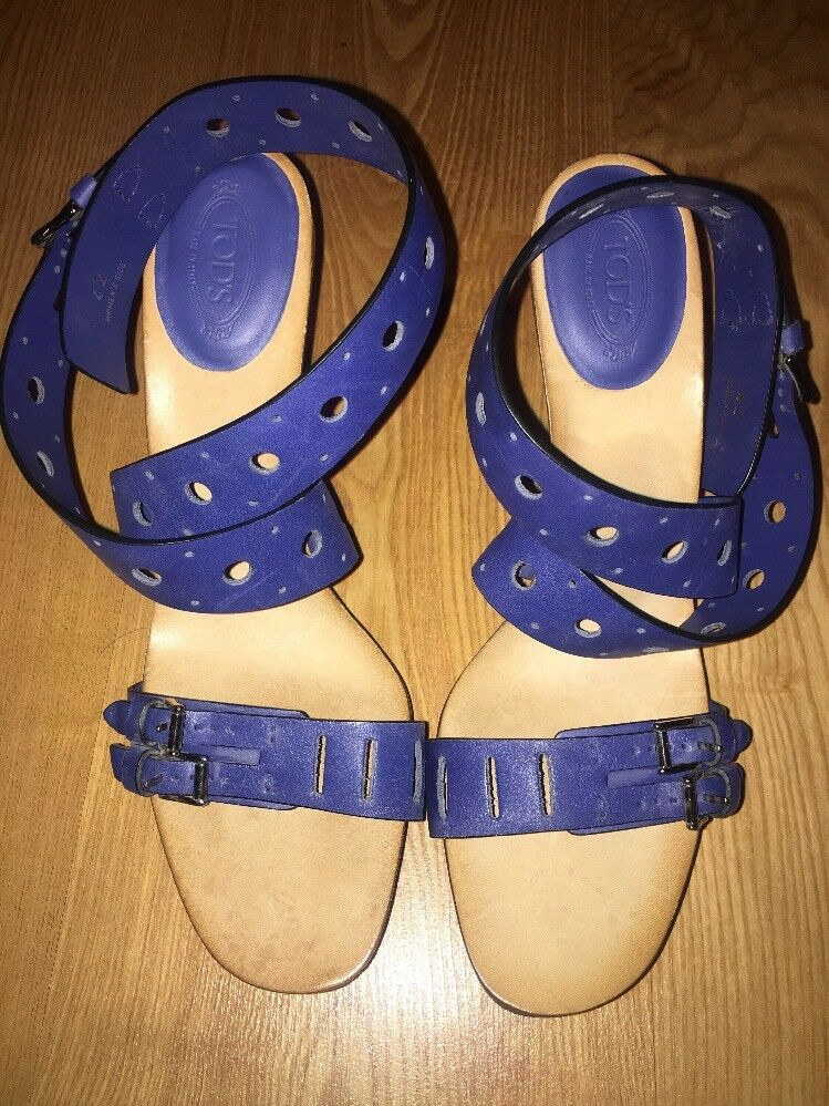 TOD'S bluee Leather Double Buckle Ankle Wrap Platform High Heel Sandals Size 42