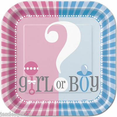 8 Baby Shower Paper Plates Gender Reveal Party Supplies Tableware Unisex