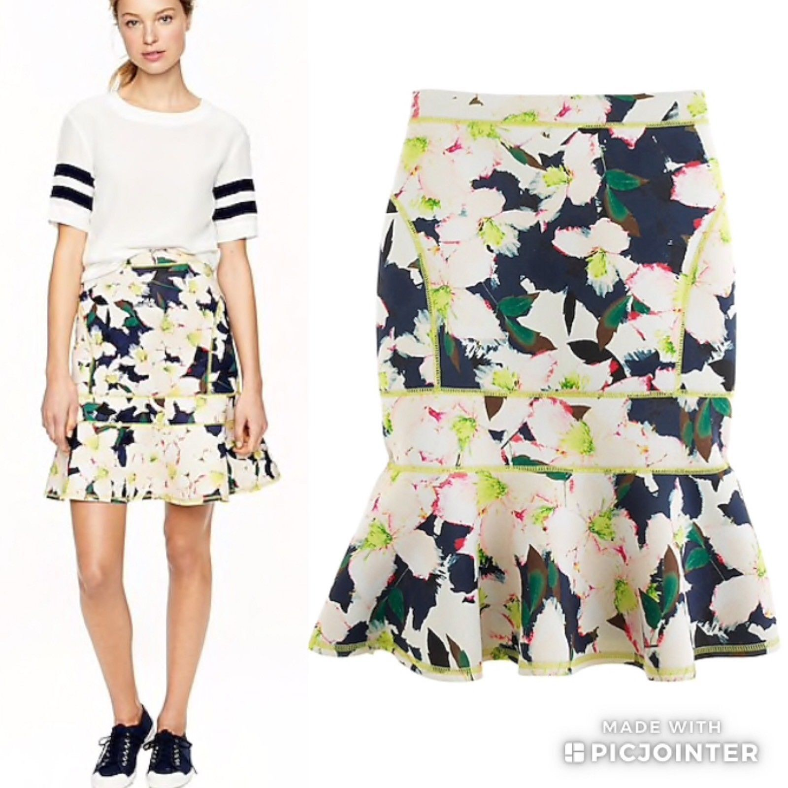 J.Crew Polyester Green Print Floral Fit and Flare Neoprene Scuba Skirt Size 12