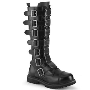 Demonia RIOT-21MP Men's Black Leather Steel Toe Goth Combat Buckles Knee Boots