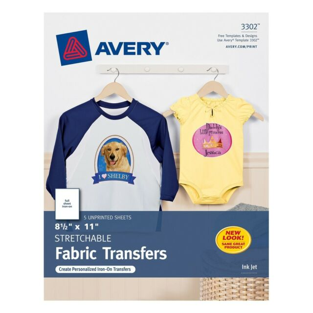 de90cb12e Avery 8.5 x 11 Stretchable Fabric Transfers for Injet Printers, 5 Sheets  (3302)