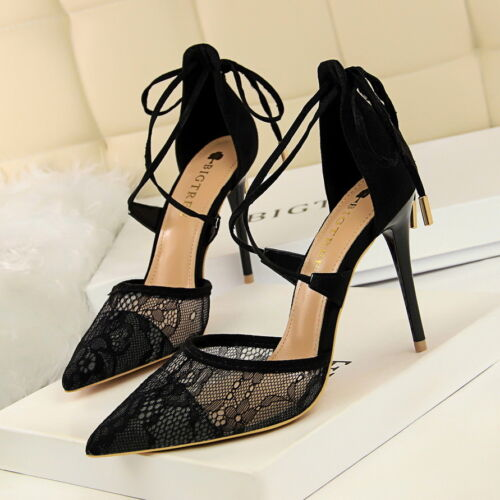 Details about  /Women/'s Sandals Pointed Toe Stiletto High Heels Cross Tied Party Dress Shoes