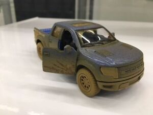 Kinsmart-5-034-Ford-F-150-SVT-Raptor-SuperCrew-Muddy-Diecast-Model-Toy-1-46-Blue