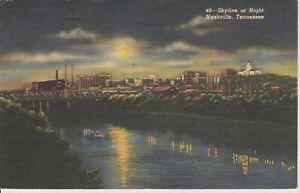 VINTAGE-POSTCARD-NASHVILLE-TN-The-Skyline-at-Night-1952