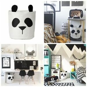 Image Is Loading Panda Canvas Storage Bins Bag Kids Toy Clothes