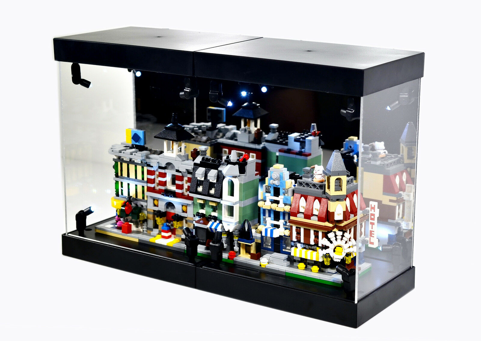 Acrylic Display Case LED Light Box for LEGO 10230 mini modulars modular building