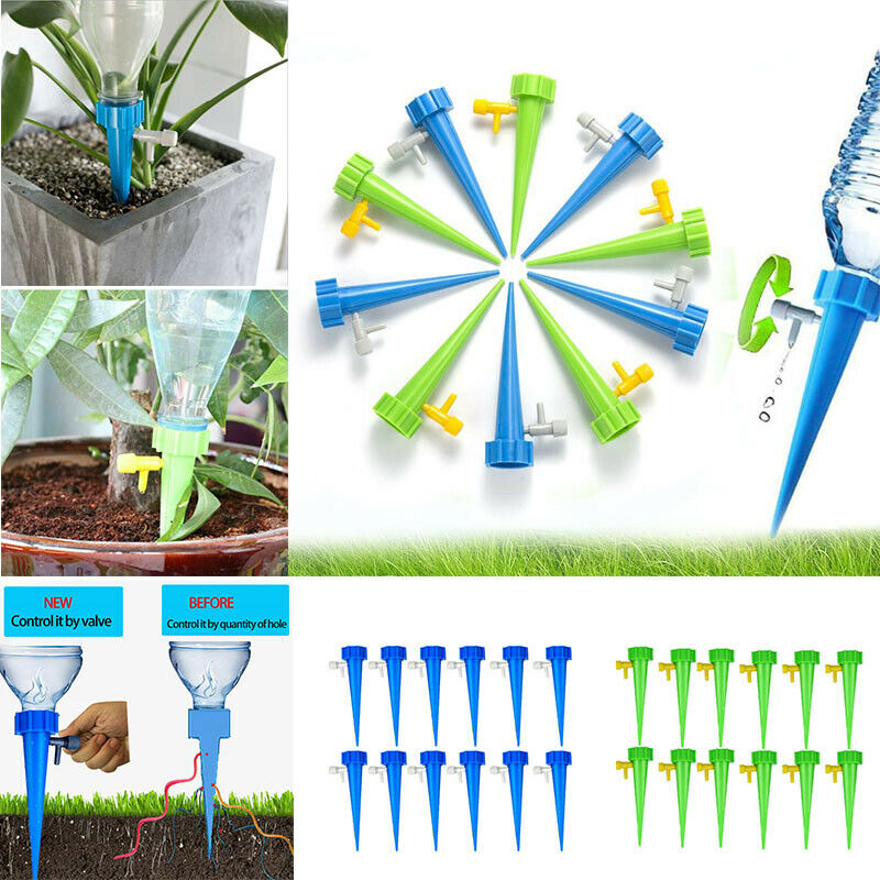 24X Plant Water Funnel Self Watering Spikes Slow Release Control Valve Switch QZ