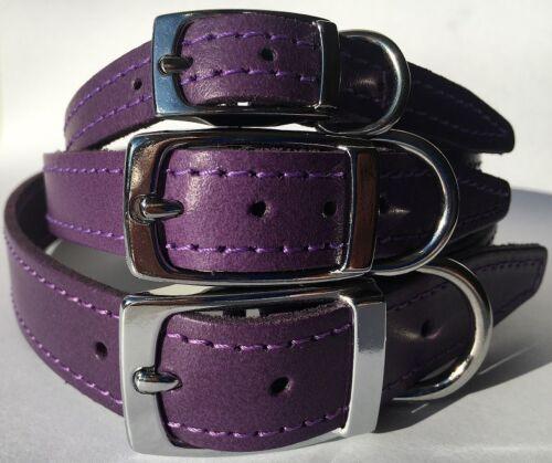 Pequeño Mediano Grande de Cuero Púrpura Collar de perro