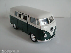 Vw Microbus (1962) vert/blanc, welly Auto Modèle environ 1:38, neuf, OVP  </span>