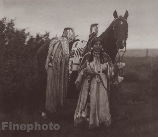 c.1900/72 Photo Gravure NATIVE AMERICAN INDIAN Cayuse Woman Horse EDWARD CURTIS