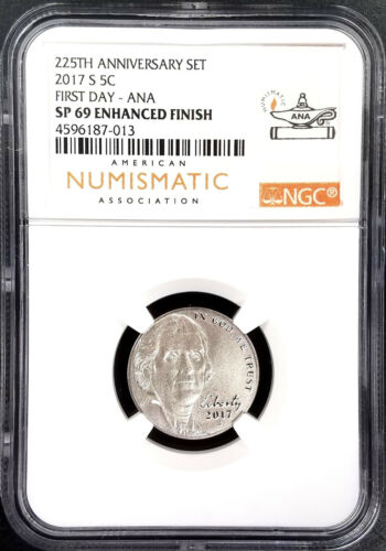 NGC SP 69 Enhanced Finish First Day of Issue ANA! 2017 S Jefferson Nickel
