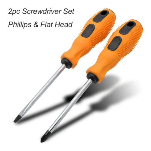 2PC Telecom Long Reach 195mm Screwdriver Set Flat 5mm /& Philips Ph1 Soft Grip
