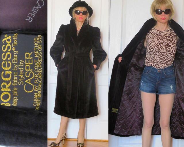 VINTAGE BORGESSA  styled by CASPER BELTED STRIPED BLACK FAUX FUR COAT (size S?)