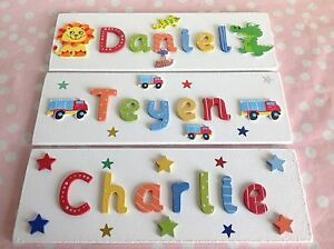 Image Is Loading Children Kids Wooden Name Plaque Personalised Bedroom Boy