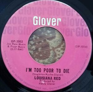 1964-USA-BLUES-LOUISIANA-RED-I-039-M-TOO-POOR-TO-DIE-7-034-GLOVER-GP-3002