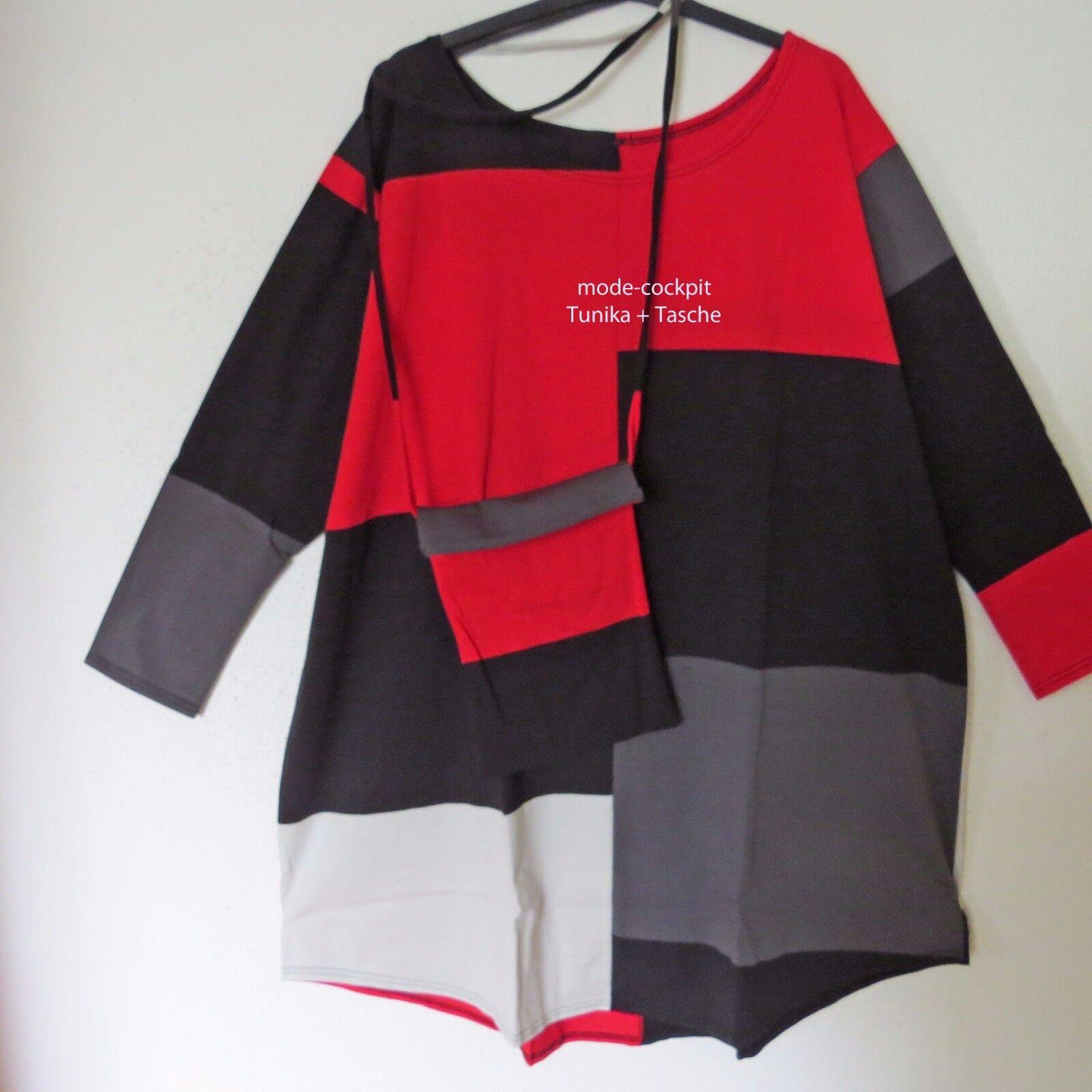 BORIS INDUSTRIES coole Tunika Long Shirt+Tasche Patch schwarz-rot 50-54 (3)