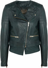 Muubaa Surko Dark Green Leather Biker Jacket UK10 / US6 / EU38 RRP £475