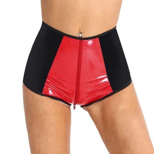 #S-XL Women Hot Faux Leather High Waist Zipper Crotch Underwear Panties Knickers