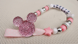 Personalised Stunning Baby Pink Dummy Clip holder for pram//pushchair//carseat etc