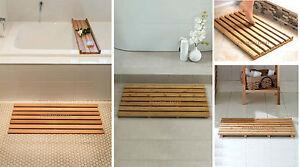 Large bamboo wood wooden slatted duck board rectangular bathroom