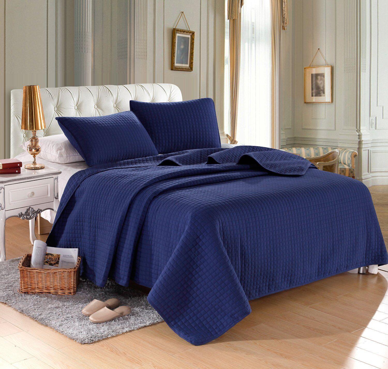 Navy blueeee Solid color Hypoallergenic Quilt Coverlet Bedspread Twin Queen King