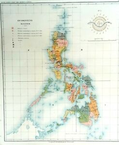 PHILIPPINE-ISLANDS-WEATHER-SEISMIC-STATIONS-1899-Original-Antique-Map