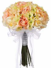 Hydrangea Rose Yellow and Peach Hand Tie Medium - Silk Bridal Wedding Bouquet …