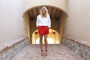 Shakuhachi-Faux-Leather-Wrap-Shorts-Red-Size-AU-UK10-US-M-NWOT-PX08