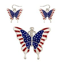 USA BUTTERFLY Pendant & Matching Pierced Earrings-Red/White/Blue Pendant 2""