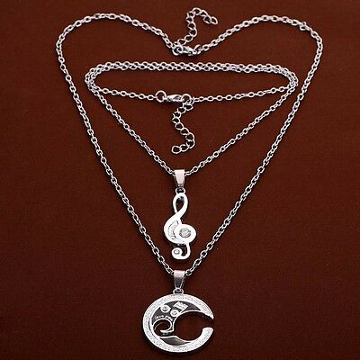 Silver Chain Stainless Steel Couple Matching Music Note Pendant Necklace Set