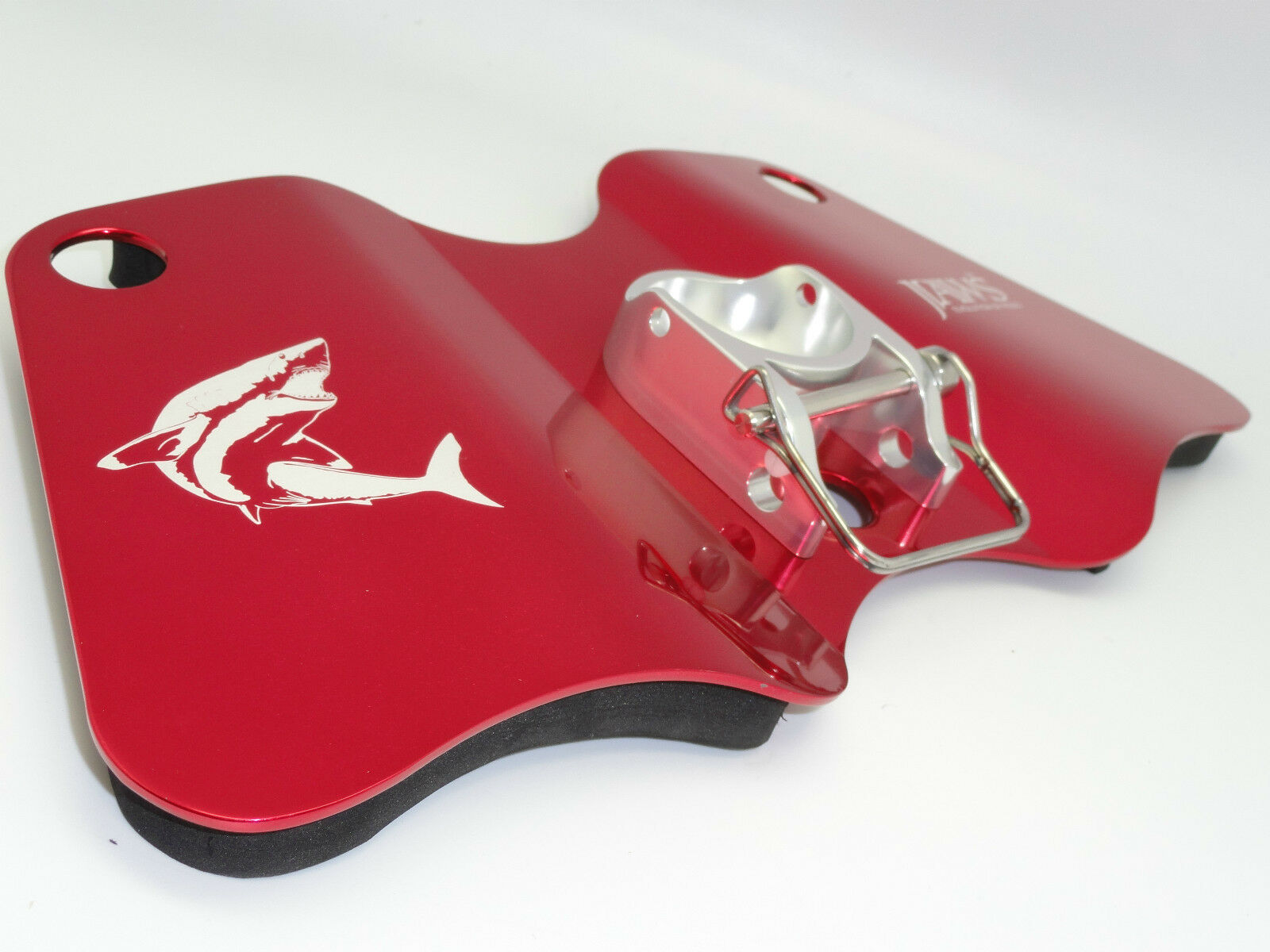 Mandíbulas de aluminio Dual Play Cardán Jigging Pad Placa para gran juego de pesca Rojo Plata