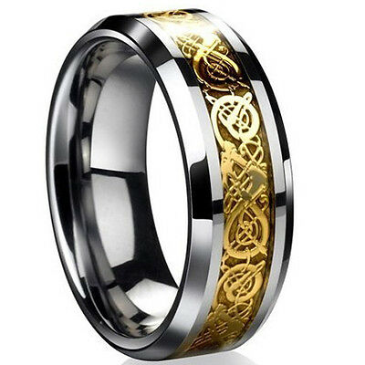 Mens Dragon Scale Ring Rings Jewelry Wedding Band 18K Gold 8 9 10 11 12 13 AU
