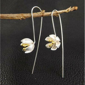 1-Pair-Silver-Handmade-Lotus-Flower-Long-Earrings-for-Women-Jewelry-Gifts