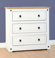 Corona White And Distressed Waxed Pine 3 Drawer Chest Free Next Day Delivery