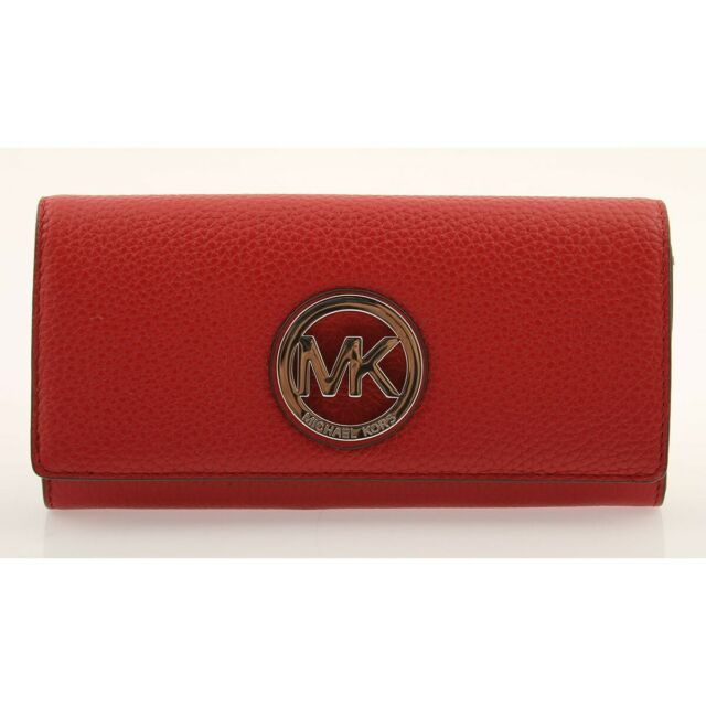 28e802a9f6d7 NWT MICHAEL KORS Fulton Leather Carryall Wallet Authentic Luxury 35T3SFTE1L  RED