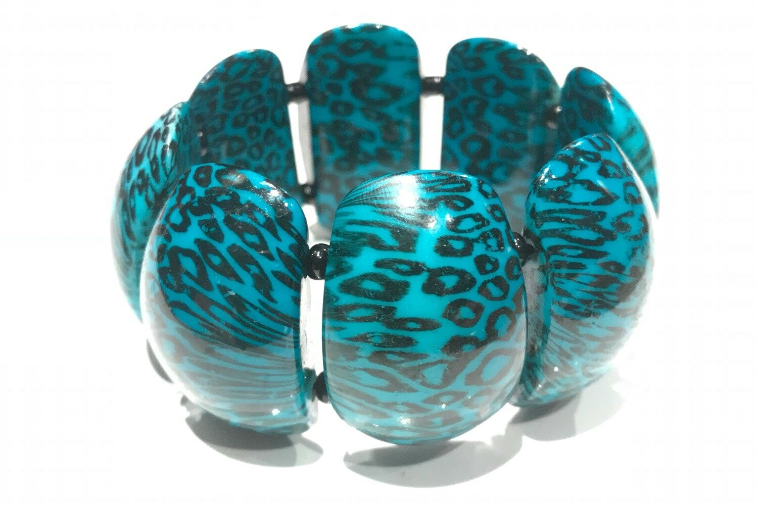 VINTAGE JEWELRY - 1980s Retro Patterned Turquoise… - image 1