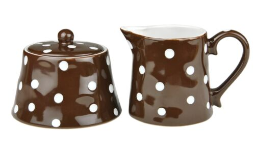 2tlg Set Zuckerdose 45cl /& Milchkännchen 37,5cl braun weiß gepunktet Keramik Neu
