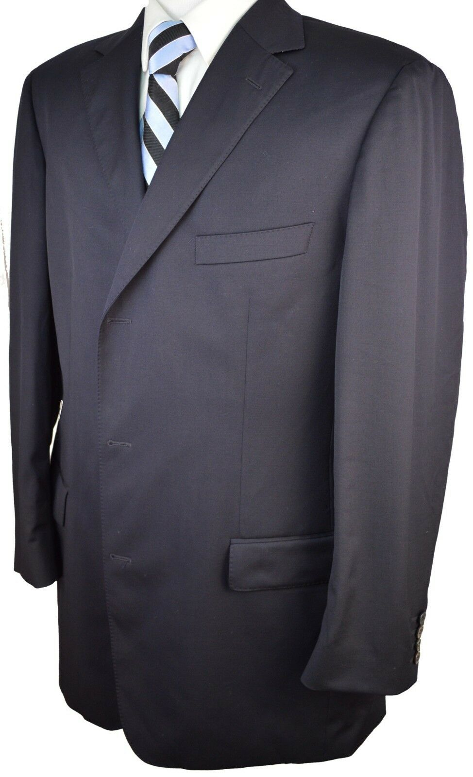 BZ47 HUGO BOSS Scorsese US Navy Blau 100% Wool Three Button Blazer 46 Long