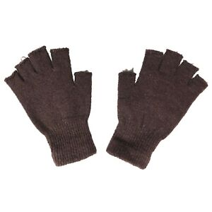 Grunge Junkie Gypsy Punk 80s 90s Womens Brown Distressed Knit Fingerless Gloves