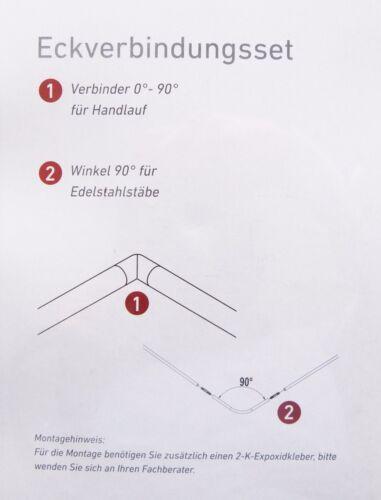 Eckverbindungs-Set für Geländer 4-kant matt 90° Winkel für Edelstahlstäbe