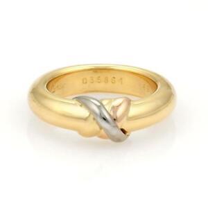 41560350b11b5 Cartier Trinity 18k Tricolor Gold X Design Dome Band Ring Size EU 49 ...