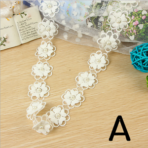 1 Yards pearl Flowers Lace Wedding Bridal clothing decoration Trim accesories